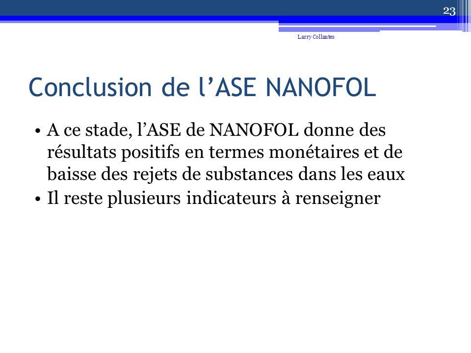 Conclusion de lASE NANOFOL A ce stade, lASE de NANOFOL donne des résultats positifs en termes monétaires et de baisse des rejets de substances dans les eaux Il reste plusieurs indicateurs à renseigner Larry Collantes 23