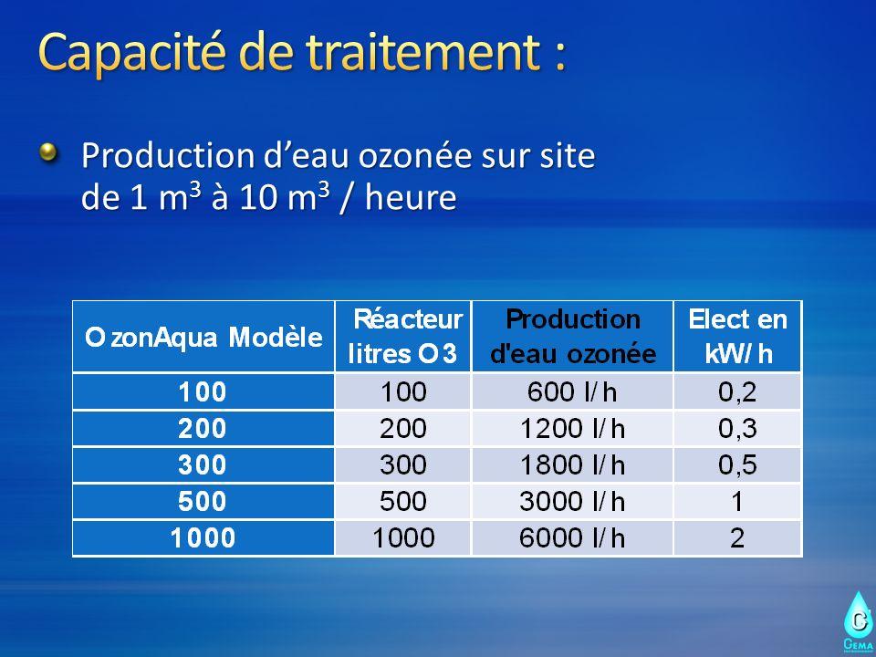 Production deau ozonée sur site de 1 m 3 à 10 m 3 / heure