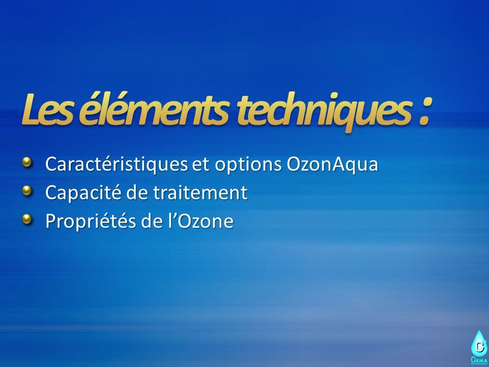 Caractéristiques et options OzonAqua Capacité de traitement Propriétés de lOzone