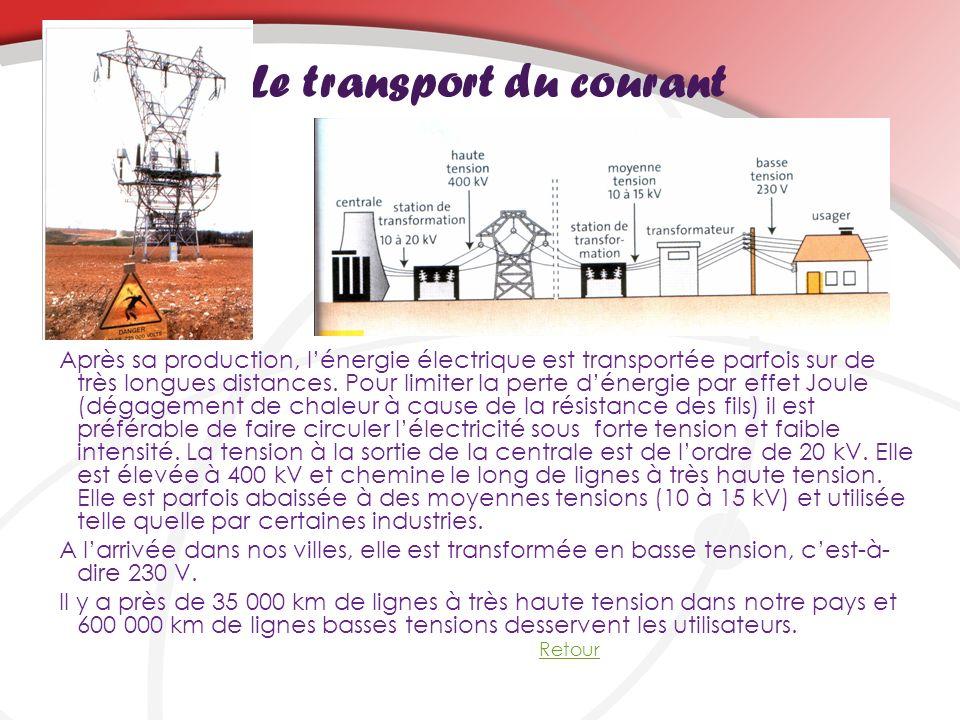 Le transport du courant Après sa production, lénergie électrique est transportée parfois sur de très longues distances. Pour limiter la perte dénergie