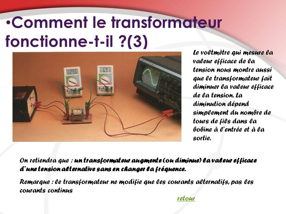 Comment le transformateur fonctionne-t-il ?(3) On retiendra que : un transformateur augmente (ou diminue) la valeur efficace dune tension alternative sans en changer la fréquence.
