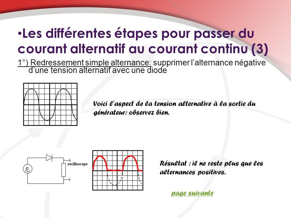 Les différentes étapes pour passer du courant alternatif au courant continu (3) Résultat : il ne reste plus que les alternances positives. 1°) Redress