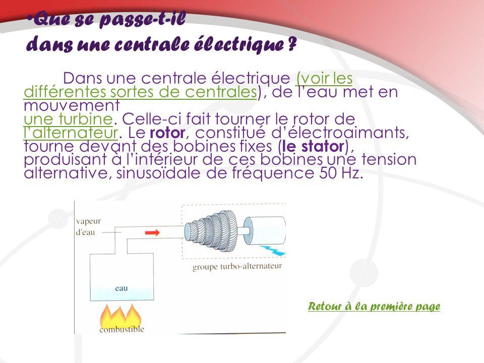Que se passe-t-il dans une centrale électrique ? Dans une centrale électrique (voir les différentes sortes de centrales), de leau met en mouvement une