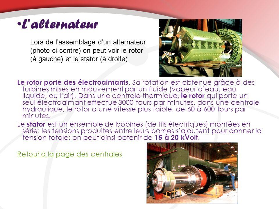 Lalternateur Le rotor porte des électroaimants. Sa rotation est obtenue grâce à des turbines mises en mouvement par un fluide (vapeur deau, eau liquid