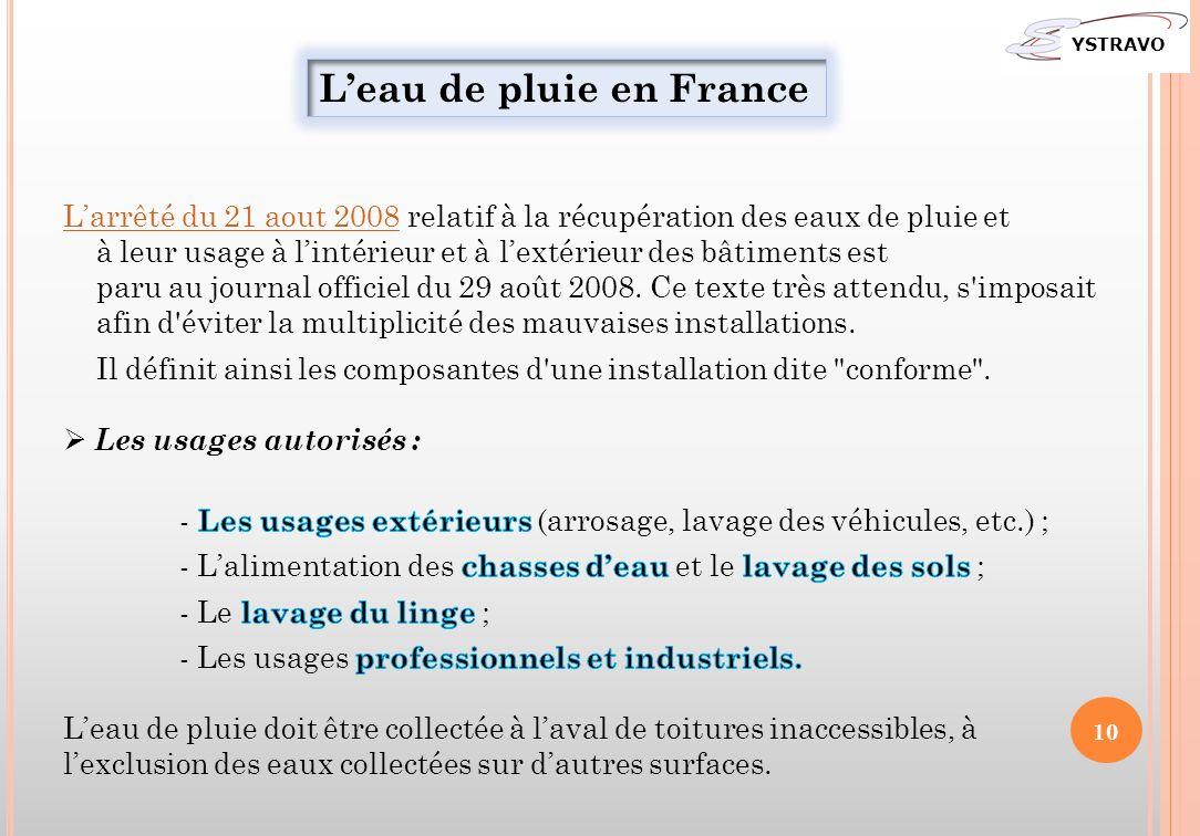 Leau de pluie en France YSTRAVO 10