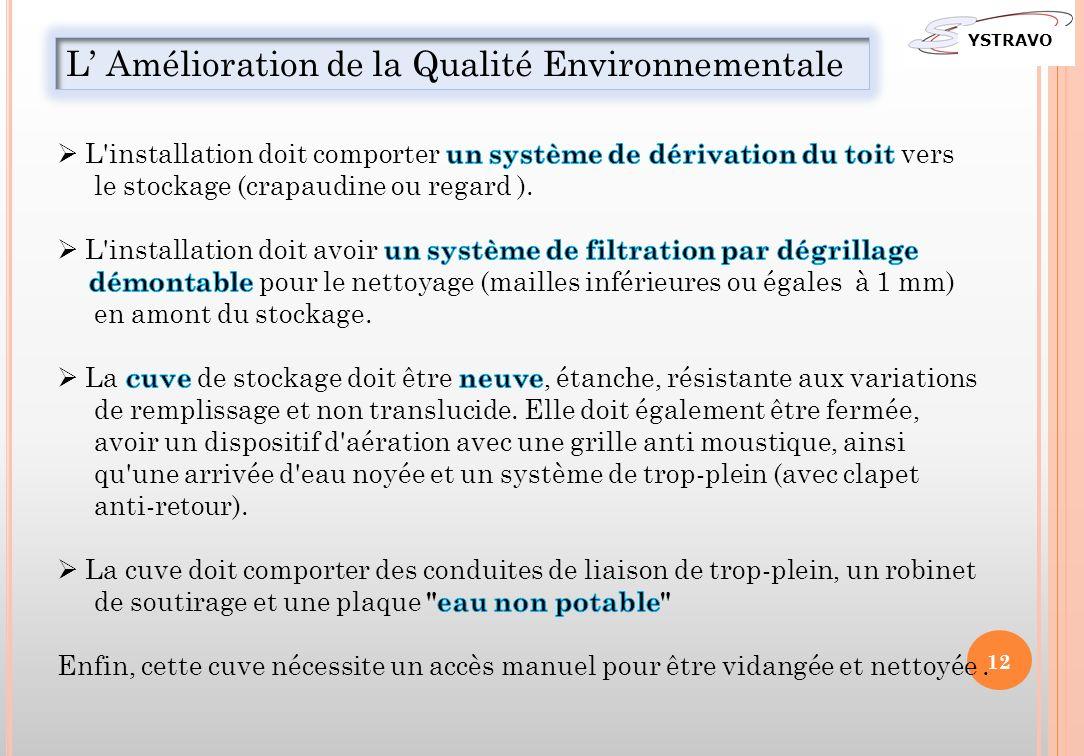 L Amélioration de la Qualité Environnementale YSTRAVO 12