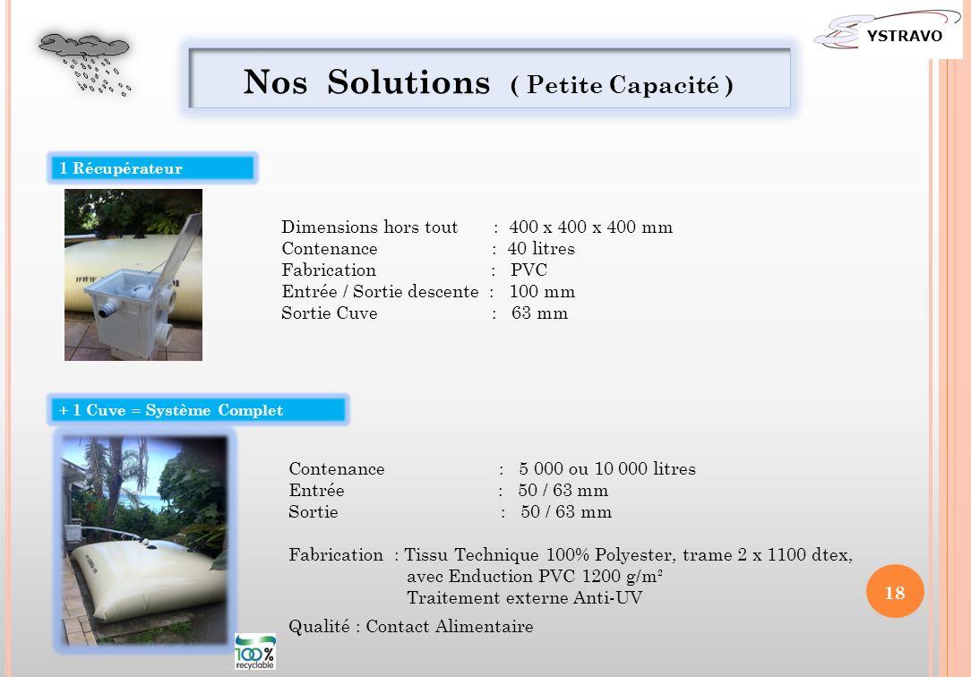 Nos Solutions ( Petite Capacité ) 1 Récupérateur + 1 Cuve = Système Complet Dimensions hors tout : 400 x 400 x 400 mm Contenance : 40 litres Fabricati