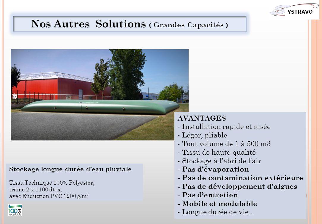 Stockage longue durée deau pluviale Tissu Technique 100% Polyester, trame 2 x 1100 dtex, avec Enduction PVC 1200 g/m² Nos Autres Solutions ( Grandes C