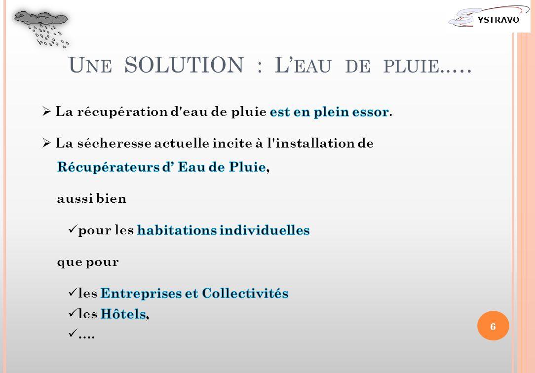 U NE SOLUTION : L EAU DE PLUIE..… YSTRAVO 6