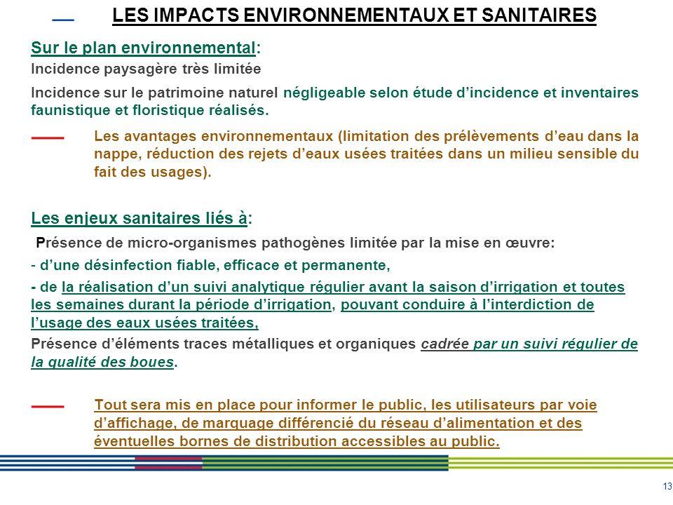 13 LES IMPACTS ENVIRONNEMENTAUX ET SANITAIRES Sur le plan environnemental: Incidence paysagère très limitée Incidence sur le patrimoine naturel néglig
