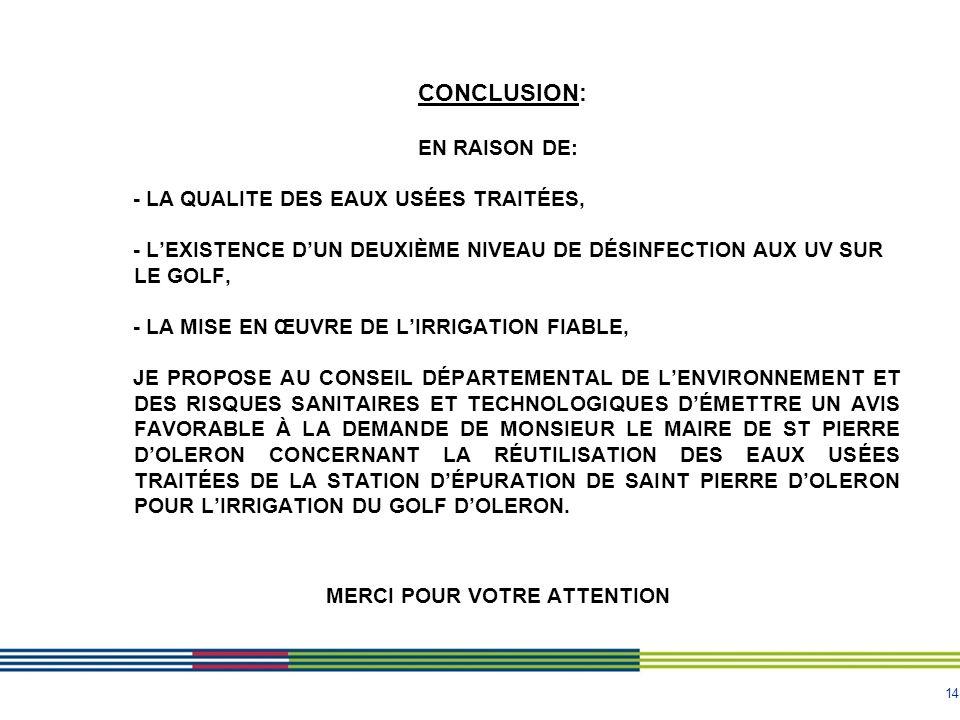 14 CONCLUSION: EN RAISON DE: - LA QUALITE DES EAUX USÉES TRAITÉES, - LEXISTENCE DUN DEUXIÈME NIVEAU DE DÉSINFECTION AUX UV SUR LE GOLF, - LA MISE EN ŒUVRE DE LIRRIGATION FIABLE, JE PROPOSE AU CONSEIL DÉPARTEMENTAL DE LENVIRONNEMENT ET DES RISQUES SANITAIRES ET TECHNOLOGIQUES DÉMETTRE UN AVIS FAVORABLE À LA DEMANDE DE MONSIEUR LE MAIRE DE ST PIERRE DOLERON CONCERNANT LA RÉUTILISATION DES EAUX USÉES TRAITÉES DE LA STATION DÉPURATION DE SAINT PIERRE DOLERON POUR LIRRIGATION DU GOLF DOLERON.