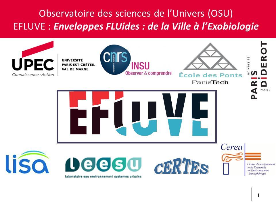 1 Observatoire des sciences de lUnivers (OSU) EFLUVE : Enveloppes FLUides : de la Ville à lExobiologie