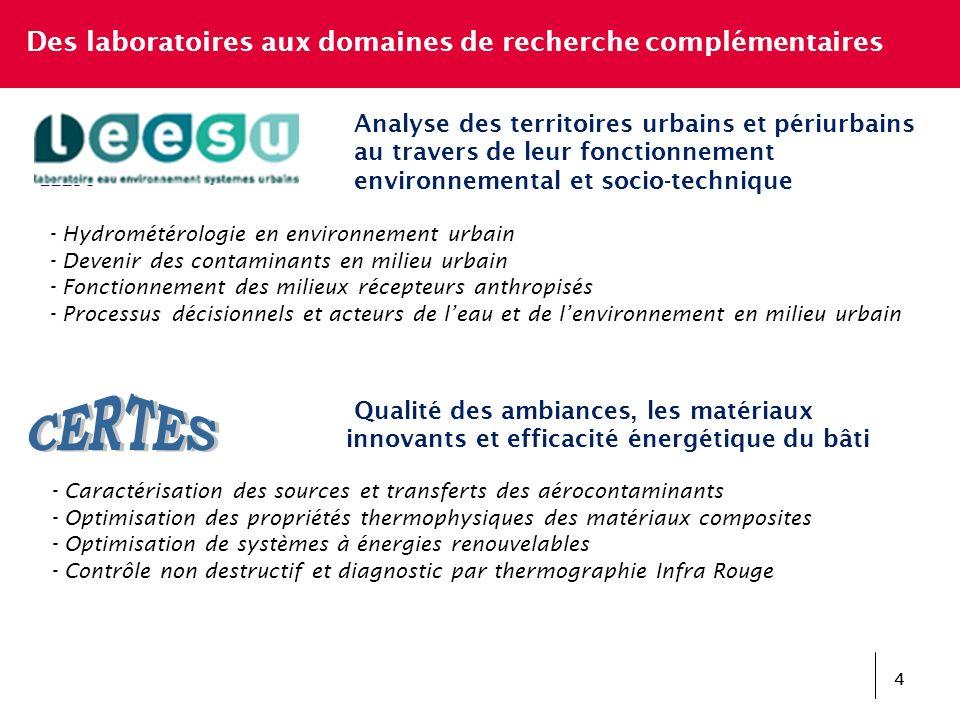 Des laboratoires aux domaines de recherche complémentaires Qualité des ambiances, les matériaux innovants et efficacité énergétique du bâti - Caractér