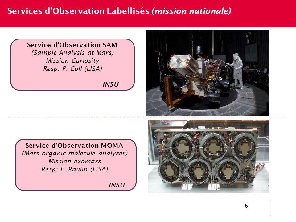 Services dObservation Labellisés (mission nationale) 7 Service dobservation OPUR (observatoire des polluants Urbains) Resp: G.
