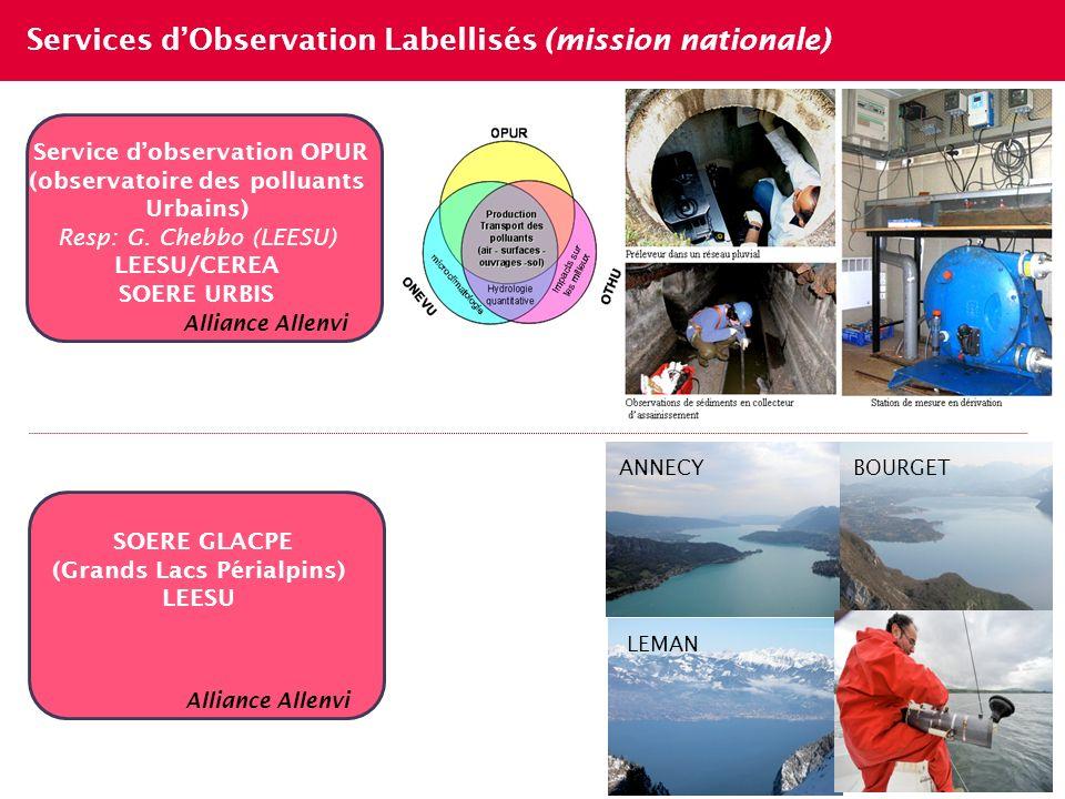 Services dObservation Labellisés (mission nationale) 7 Service dobservation OPUR (observatoire des polluants Urbains) Resp: G. Chebbo (LEESU) LEESU/CE