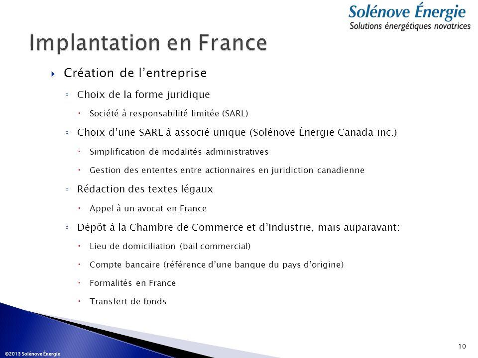Création de lentreprise Choix de la forme juridique Société à responsabilité limitée (SARL) Choix dune SARL à associé unique (Solénove Énergie Canada