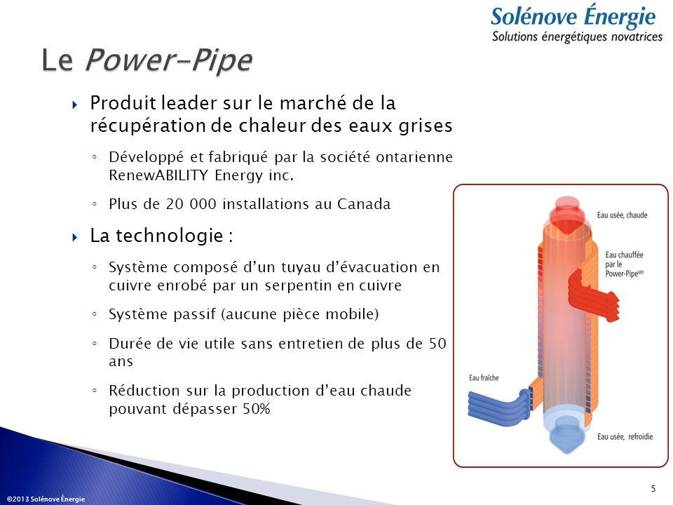 Produit leader sur le marché de la récupération de chaleur des eaux grises Développé et fabriqué par la société ontarienne RenewABILITY Energy inc. Pl