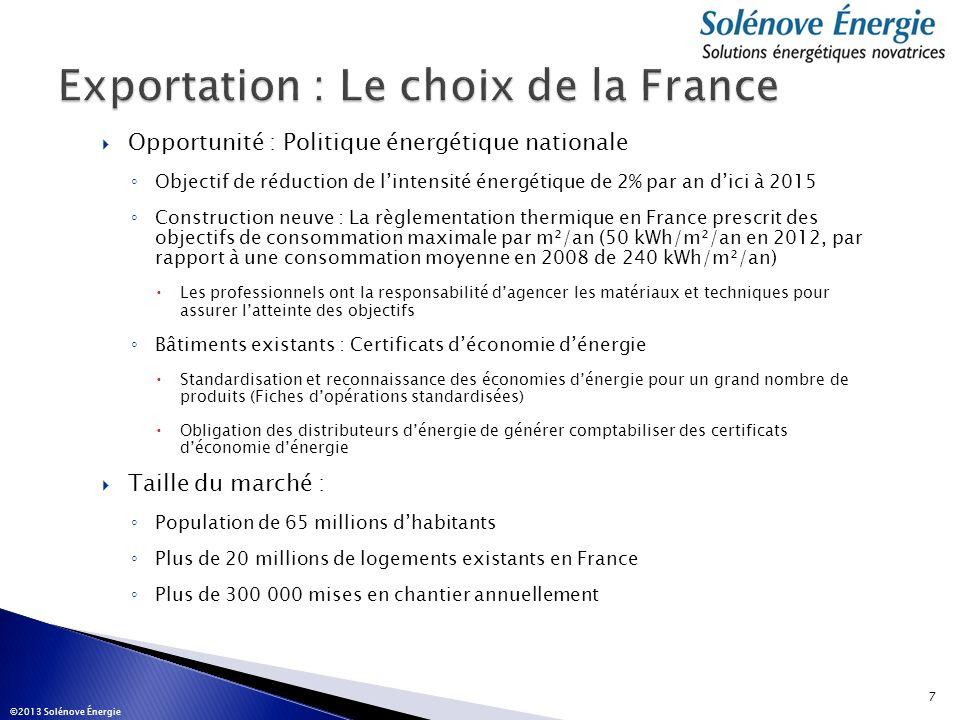 Opportunité : Politique énergétique nationale Objectif de réduction de lintensité énergétique de 2% par an dici à 2015 Construction neuve : La règleme