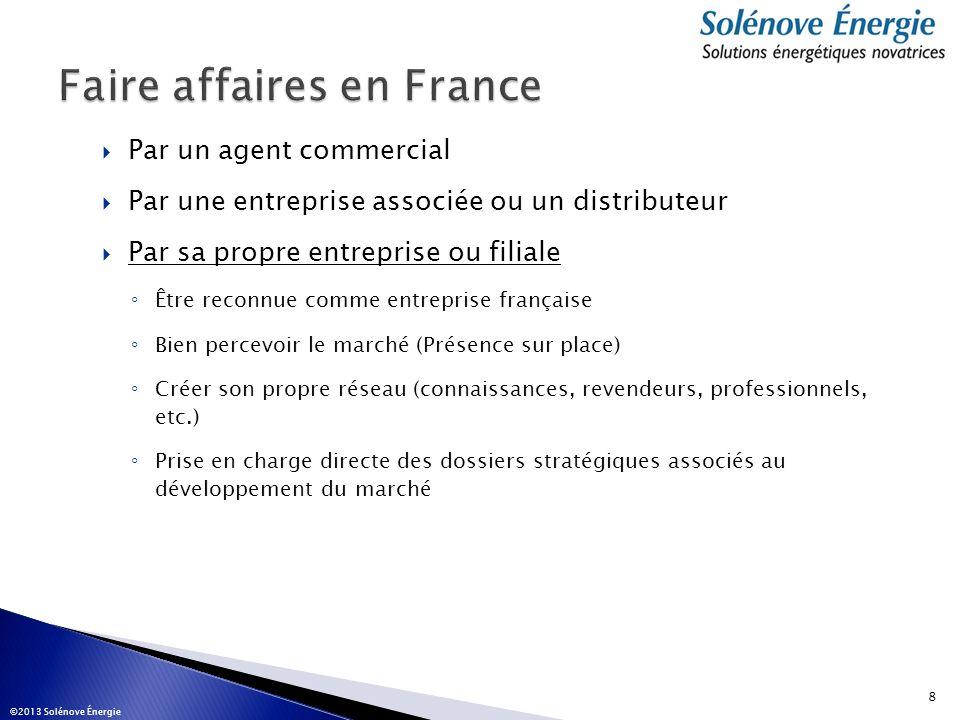 Par un agent commercial Par une entreprise associée ou un distributeur Par sa propre entreprise ou filiale Être reconnue comme entreprise française Bi