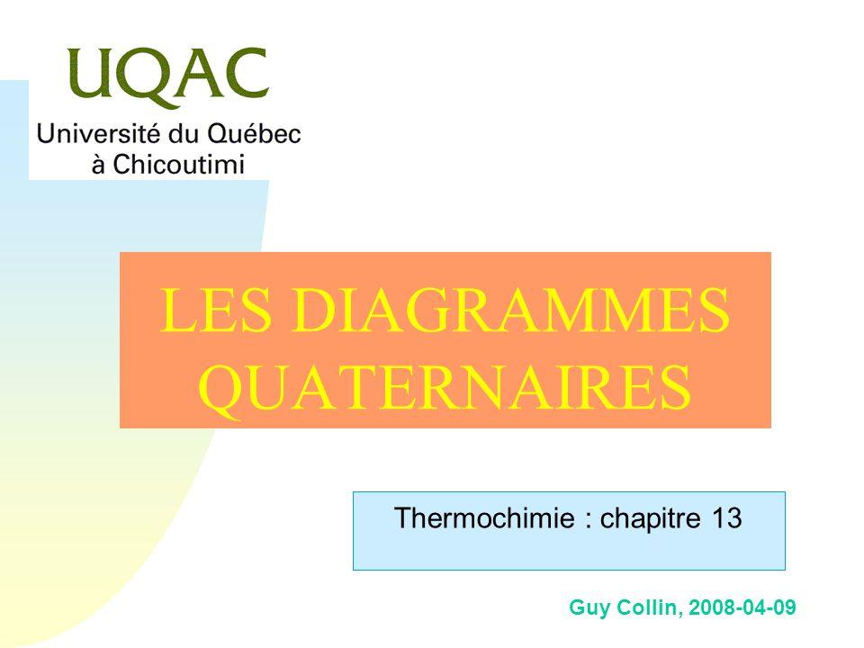 Guy Collin, 2008-04-09 LES DIAGRAMMES QUATERNAIRES Thermochimie : chapitre 13