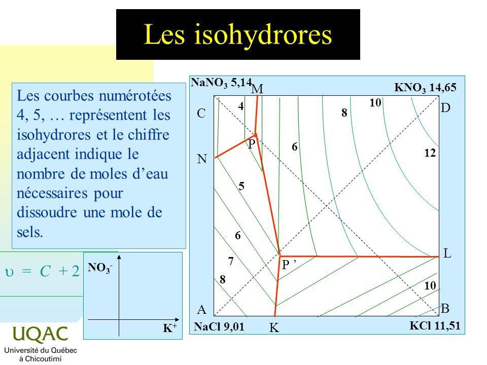 = C + 2 - Les isohydrores A B C D P N M L K P 4 5 6 6 7 8 8 10 12 KCl 11,51 NaNO 3 5,14 KNO 3 14,65 NaCl 9,01 Les courbes numérotées 4, 5, … représent