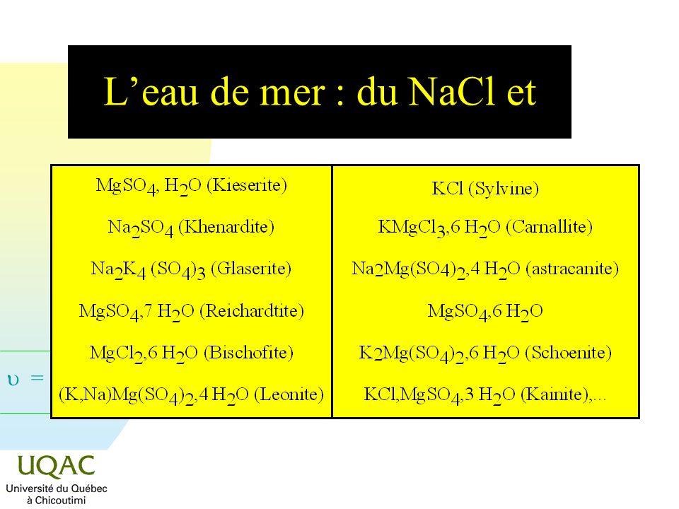 = C + 2 - Leau de mer : du NaCl et