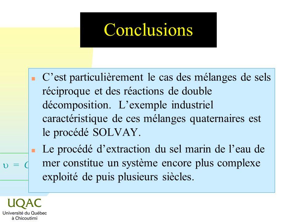 = C + 2 - Conclusions n Cest particulièrement le cas des mélanges de sels réciproque et des réactions de double décomposition. Lexemple industriel car
