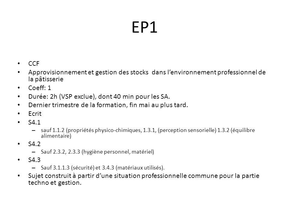EP1 CCF Approvisionnement et gestion des stocks dans lenvironnement professionnel de la pâtisserie Coeff: 1 Durée: 2h (VSP exclue), dont 40 min pour les SA.