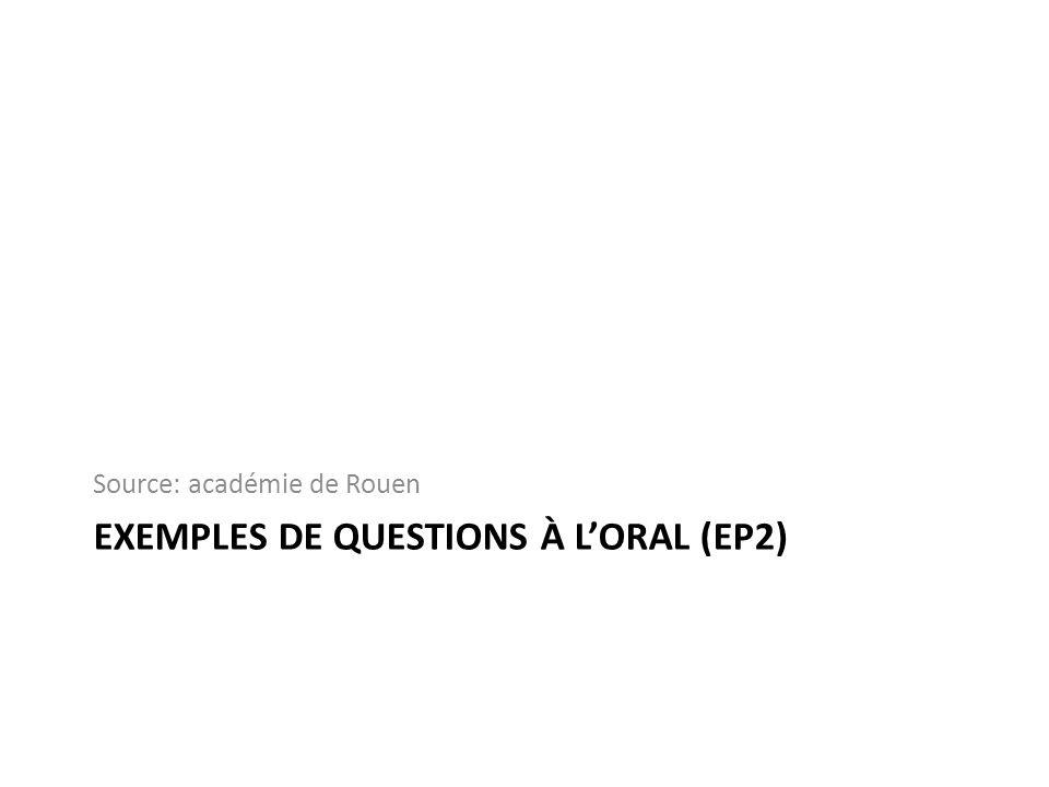 EXEMPLES DE QUESTIONS À LORAL (EP2) Source: académie de Rouen