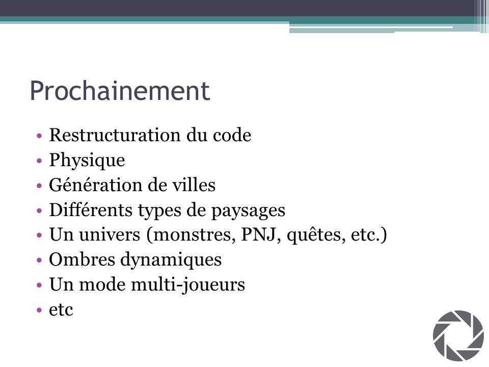 Prochainement Restructuration du code Physique Génération de villes Différents types de paysages Un univers (monstres, PNJ, quêtes, etc.) Ombres dynam