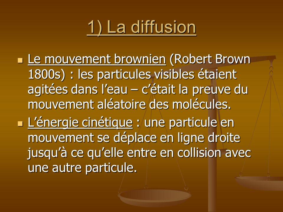 1) La diffusion Le mouvement brownien (Robert Brown 1800s) : les particules visibles étaient agitées dans leau – cétait la preuve du mouvement aléatoi