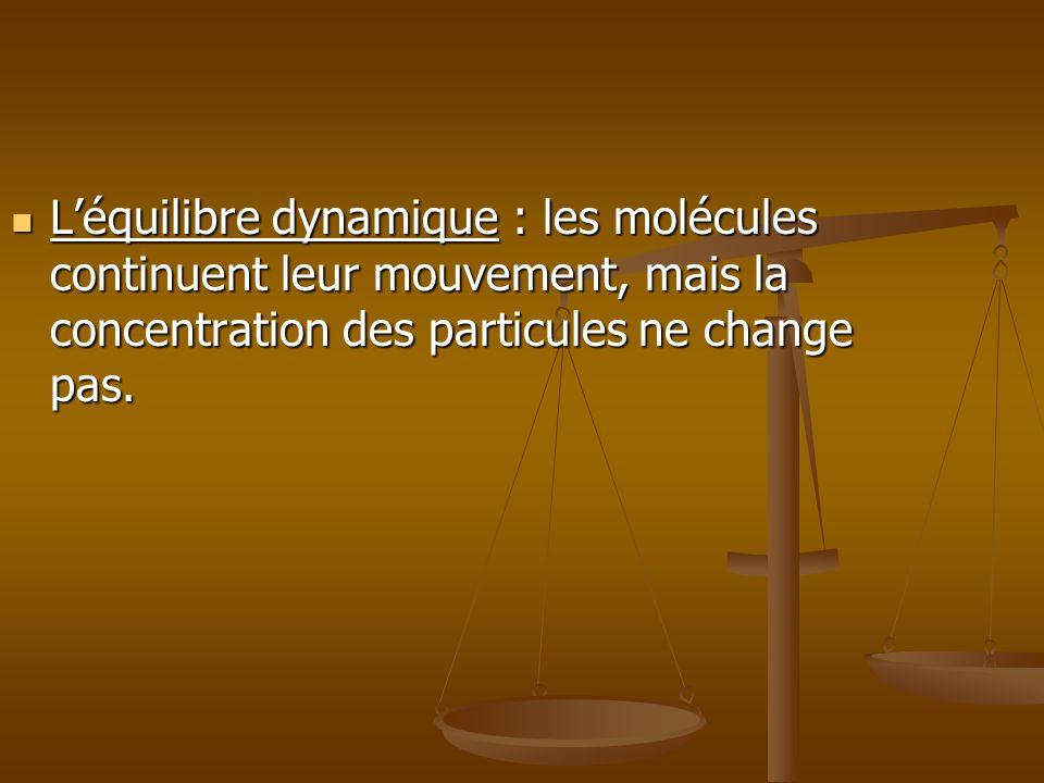 Léquilibre dynamique : les molécules continuent leur mouvement, mais la concentration des particules ne change pas. Léquilibre dynamique : les molécul