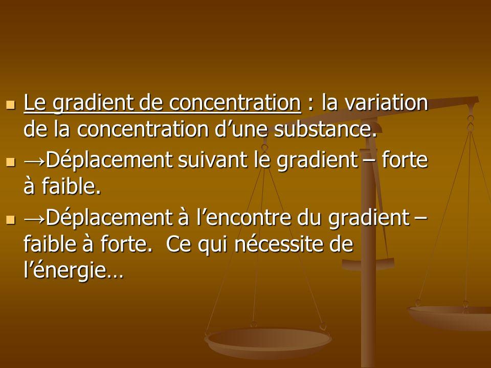 Le gradient de concentration : la variation de la concentration dune substance. Le gradient de concentration : la variation de la concentration dune s