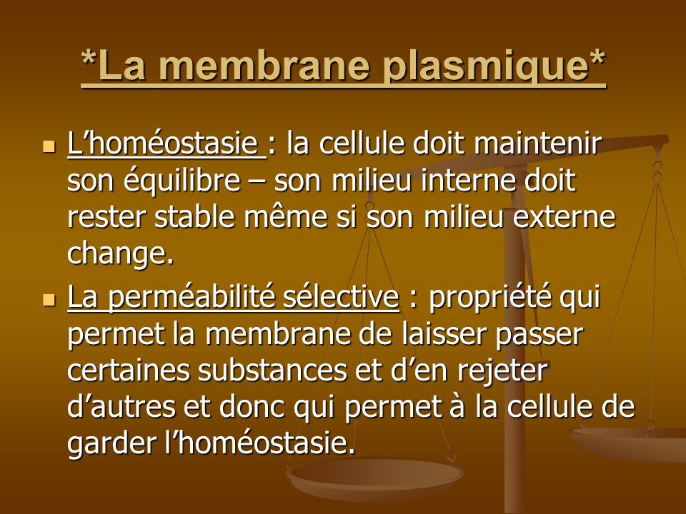 *La membrane plasmique* Lhoméostasie : la cellule doit maintenir son équilibre – son milieu interne doit rester stable même si son milieu externe chan