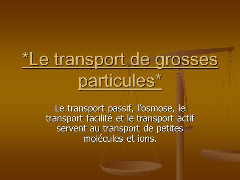 *Le transport de grosses particules* Le transport passif, losmose, le transport facilité et le transport actif servent au transport de petites molécul