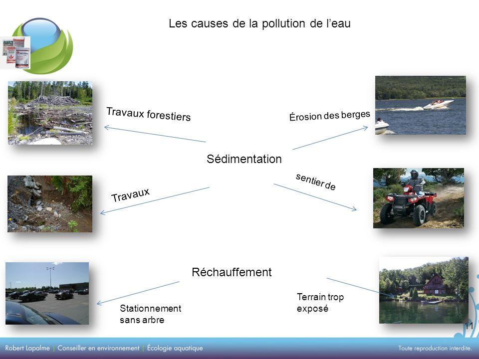 11 Les causes de la pollution de leau Sédimentation Travaux forestiers Travaux Érosion des berges sentier de Réchauffement Stationnement sans arbre Terrain trop exposé