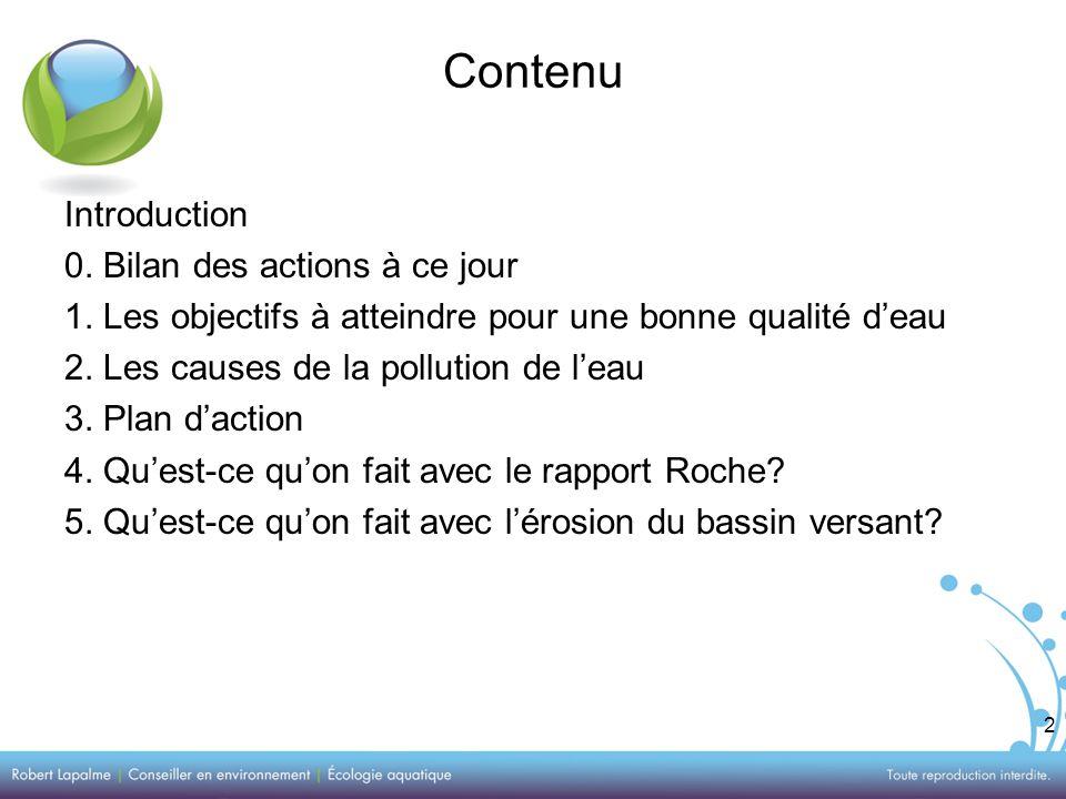 2 Contenu Introduction 0. Bilan des actions à ce jour 1.