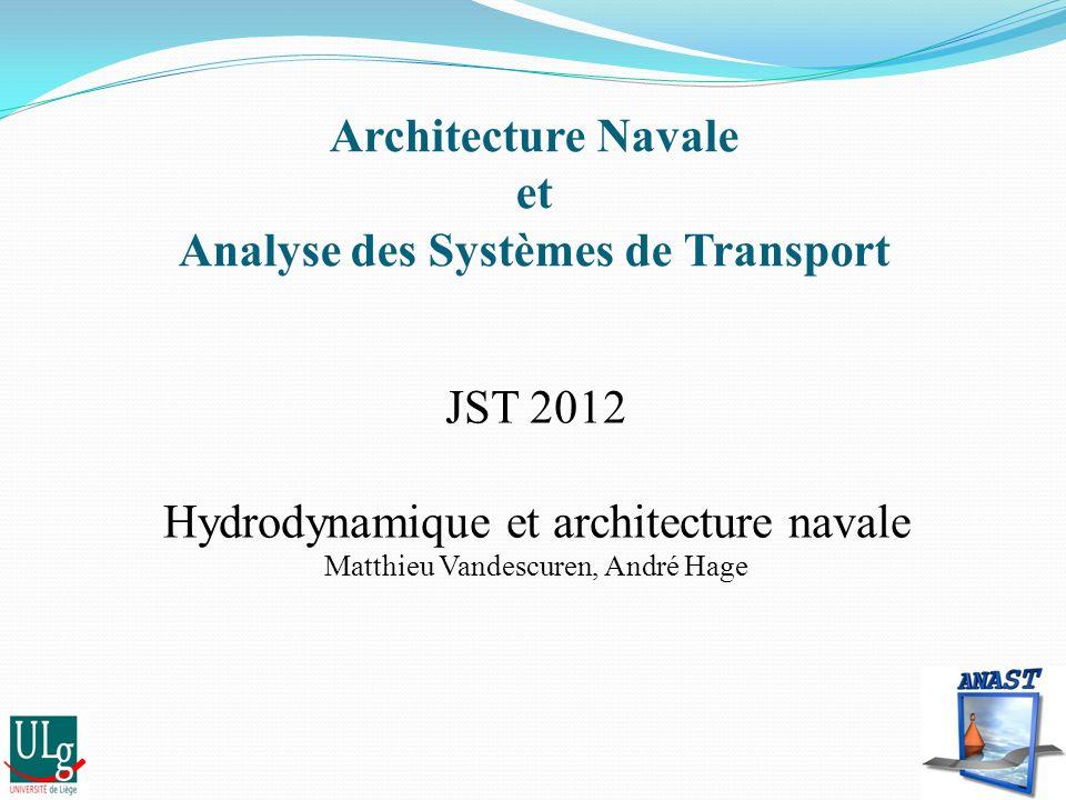 Architecture Navale et Analyse des Systèmes de Transport JST 2012 Hydrodynamique et architecture navale Matthieu Vandescuren, André Hage