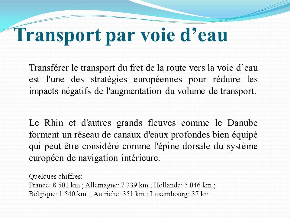 Transport par voie deau Transférer le transport du fret de la route vers la voie deau est l une des stratégies européennes pour réduire les impacts négatifs de l augmentation du volume de transport.