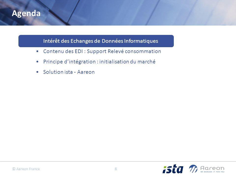 © Aareon France 8 Agenda Intérêt des Echanges de Données Informatiques Contenu des EDI : Support Relevé consommation Principe dintégration : initialisation du marché Solution ista - Aareon