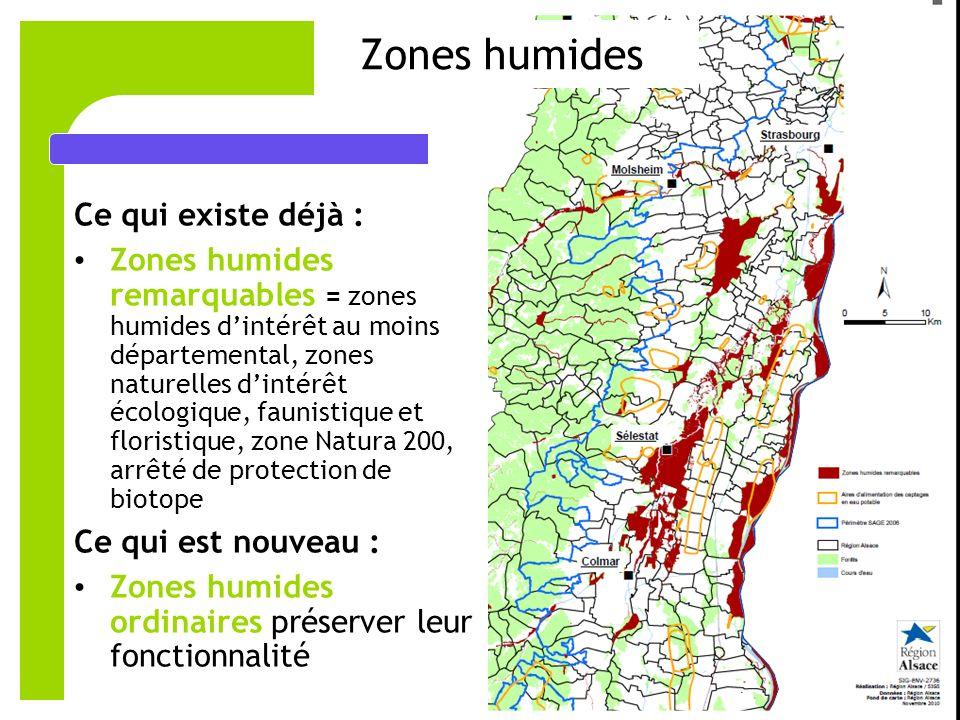 7 Zones humides Ce qui existe déjà : Zones humides remarquables = zones humides dintérêt au moins départemental, zones naturelles dintérêt écologique, faunistique et floristique, zone Natura 200, arrêté de protection de biotope Ce qui est nouveau : Zones humides ordinaires préserver leur fonctionnalité