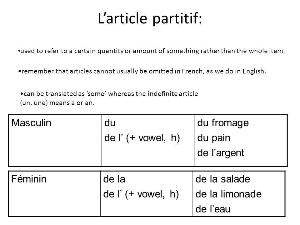 Larticle partitif: Masculindu de l (+ vowel, h) du fromage du pain de largent Fémininde la de l (+ vowel, h) de la salade de la limonade de leau used