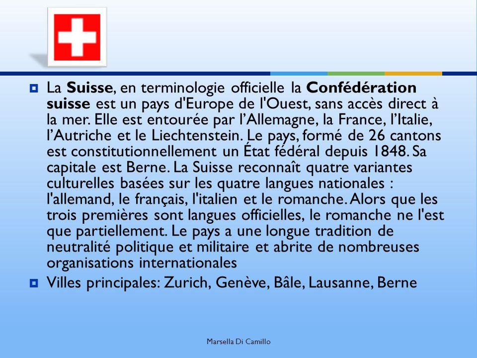 La Suisse, en terminologie officielle la Confédération suisse est un pays d'Europe de l'Ouest, sans accès direct à la mer. Elle est entourée par lAlle