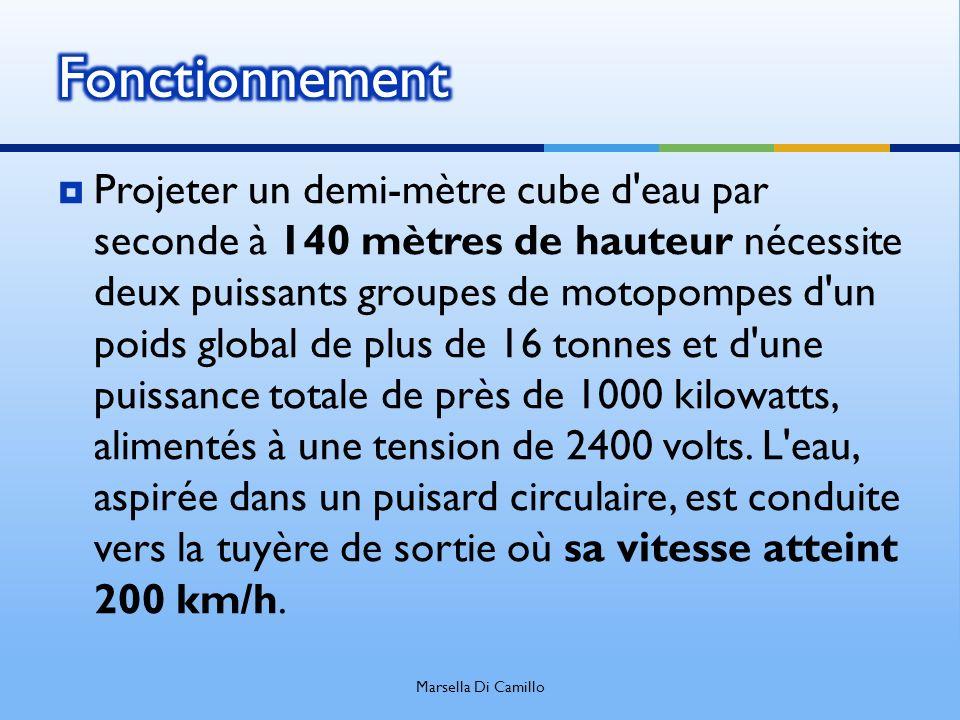 Projeter un demi-mètre cube d'eau par seconde à 140 mètres de hauteur nécessite deux puissants groupes de motopompes d'un poids global de plus de 16 t