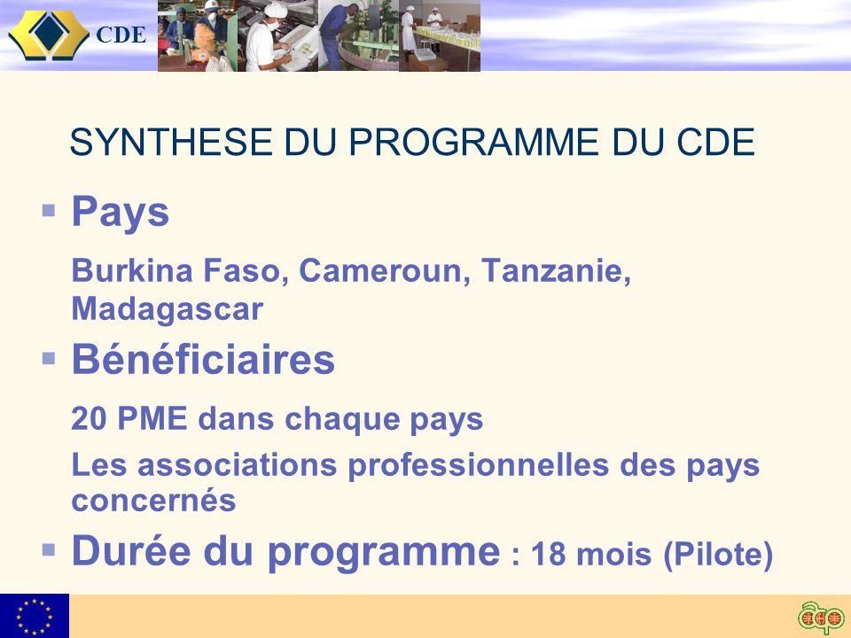 CDE SYNTHESE DU PROGRAMME DU CDE Pays Burkina Faso, Cameroun, Tanzanie, Madagascar Bénéficiaires 20 PME dans chaque pays Les associations professionnelles des pays concernés Durée du programme : 18 mois (Pilote)