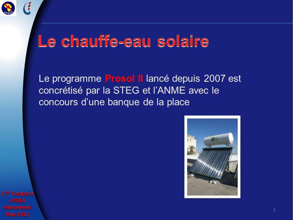 17 th Congress UPDEAHammamet May 2012 17 th Congress UPDEAHammamet May 2012 3 Le programme Prosol II lancé depuis 2007 est concrétisé par la STEG et lANME avec le concours dune banque de la place