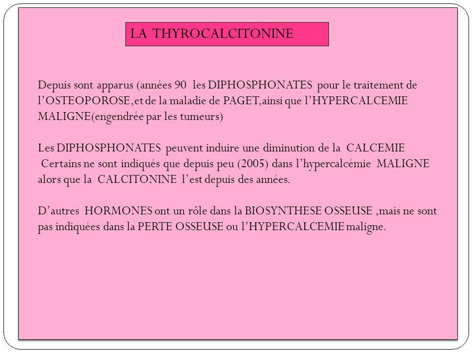 LA THYROCALCITONINE Depuis sont apparus (années 90 les DIPHOSPHONATES pour le traitement de lOSTEOPOROSE,et de la maladie de PAGET,ainsi que lHYPERCAL