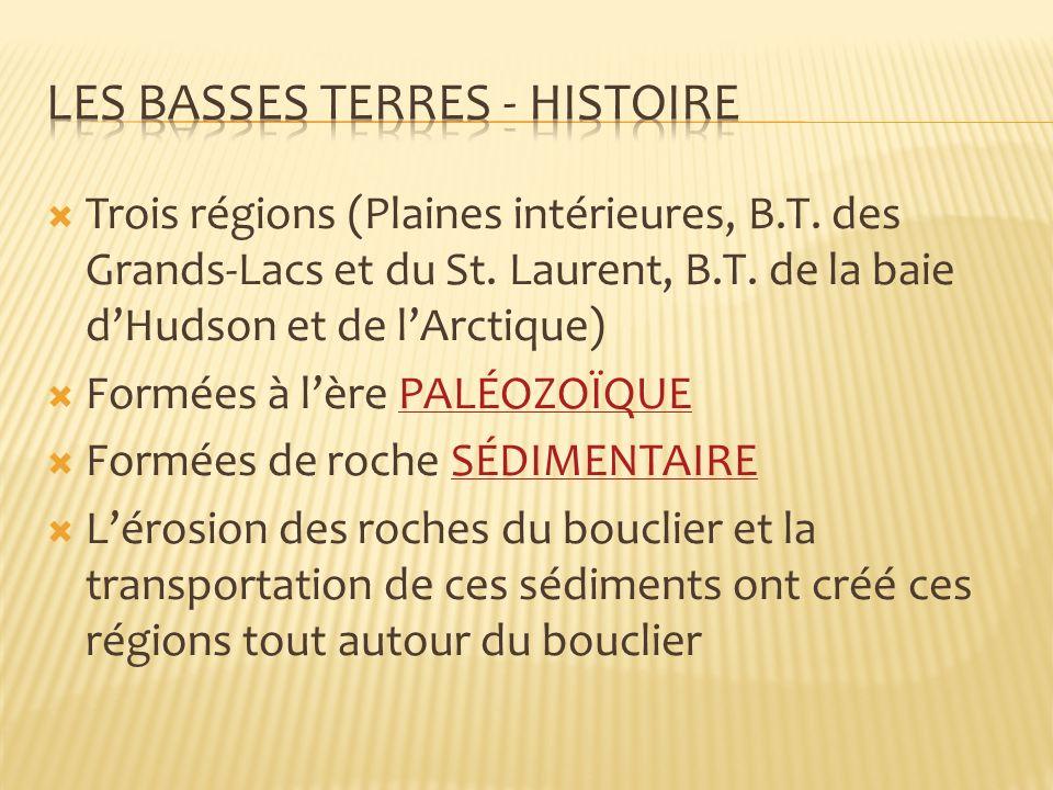 Trois régions (Plaines intérieures, B.T.des Grands-Lacs et du St.
