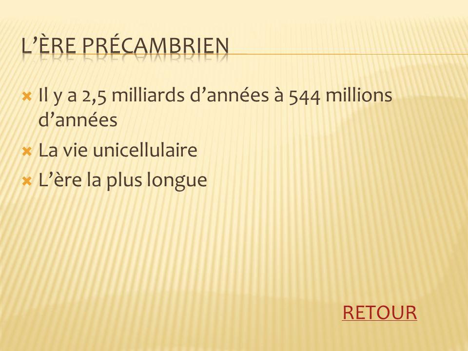 Il y a 2,5 milliards dannées à 544 millions dannées La vie unicellulaire Lère la plus longue RETOUR