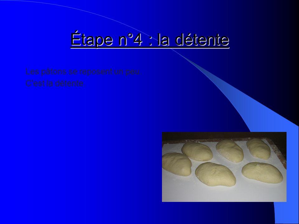 Étape n°4 : la détente Les pâtons se reposent un peu. C'est la détente.